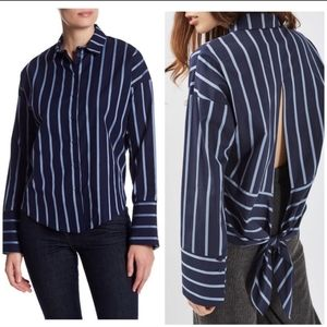 Topshop Striped Tie Back Button Down Shirt Sz 6